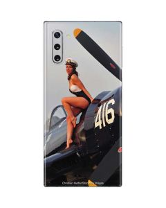 1940s Navy Pin-Up Girl On Corsair Fighter Plane Galaxy Note 10 Skin