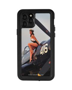 1940s Navy Pin-Up Girl On Corsair Fighter Plane iPhone 11 Pro Waterproof Case