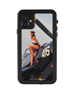 1940s Navy Pin-Up Girl On Corsair Fighter Plane iPhone 11 Waterproof Case