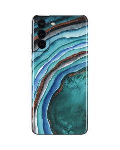 Turquoise Watercolor Geode Galaxy S21 5G Skin