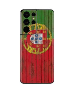 Portuguese Flag Dark Wood Galaxy S21 Ultra 5G Skin