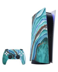 Turquoise Watercolor Geode PS5 Digital Edition Bundle Skin