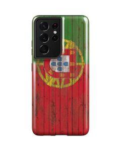 Portuguese Flag Dark Wood Galaxy S21 Ultra 5G Case