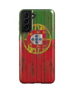 Portuguese Flag Dark Wood Galaxy S21 Plus 5G Case