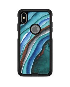 Turquoise Watercolor Geode Otterbox Commuter iPhone Skin