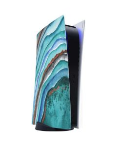 Turquoise Watercolor Geode PS5 Digital Edition Console Skin