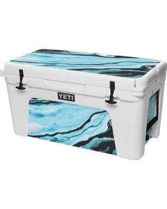 Aqua Blue Marble Ink YETI Tundra 75 Hard Cooler Skin