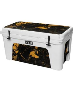 Black and Gold Scattered Marble YETI Tundra 75 Hard Cooler Skin