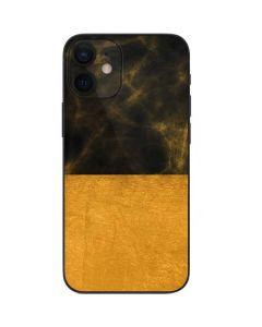Black and Gold Split Marble iPhone 12 Mini Skin