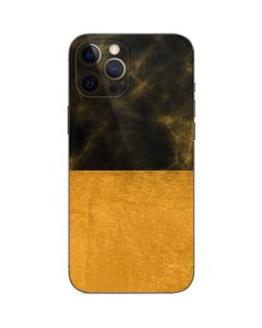 Black and Gold Split Marble iPhone 12 Pro Skin