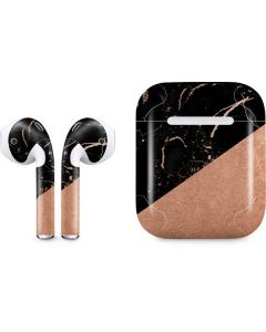 Black and Rose Gold Marble Split Apple AirPods Skin