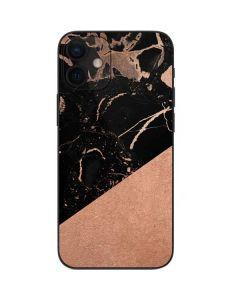 Black and Rose Gold Marble Split iPhone 12 Mini Skin
