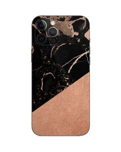 Black and Rose Gold Marble Split iPhone 12 Pro Max Skin