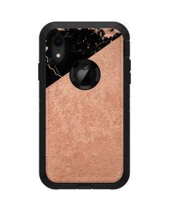Black and Rose Gold Marble Split Otterbox Defender iPhone Skin