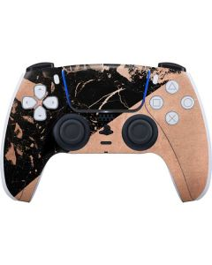 Black and Rose Gold Marble Split PS5 Controller Skin