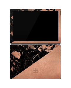 Black and Rose Gold Marble Split Surface Pro 7 Skin