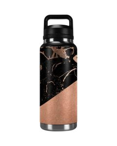 Black and Rose Gold Marble Split YETI Rambler 36oz Bottle Skin