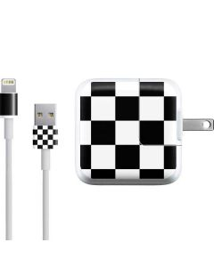 Black and White Checkered iPad Charger (10W USB) Skin