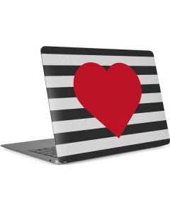 Black And White Striped Heart Apple MacBook Air Skin