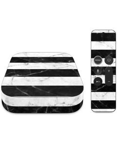 Black and White Striped Marble Apple TV Skin