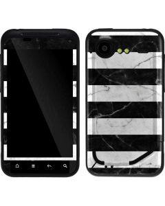 Black and White Striped Marble Droid Incredible 2 Skin