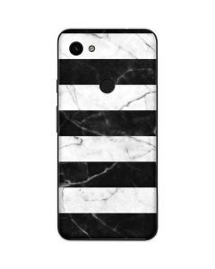 Black and White Striped Marble Google Pixel 3a Skin