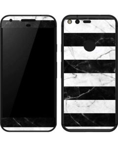 Black and White Striped Marble Google Pixel Skin
