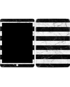 Black and White Striped Marble Apple iPad Skin