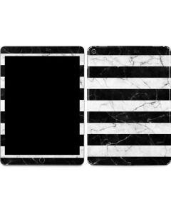 Black and White Striped Marble Apple iPad Air Skin