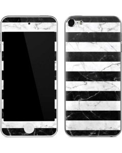 Black and White Striped Marble Apple iPod Skin