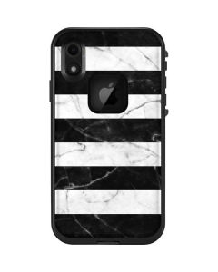 Black and White Striped Marble LifeProof Fre iPhone Skin