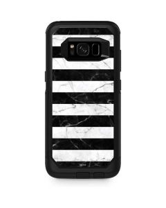 Black and White Striped Marble Otterbox Commuter Galaxy Skin