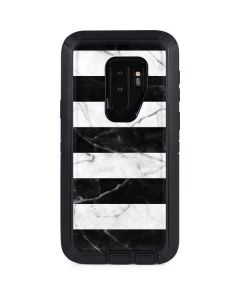 Black and White Striped Marble Otterbox Defender Galaxy Skin