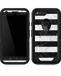 Black and White Striped Marble Otterbox Defender Pixel Skin