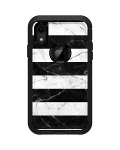 Black and White Striped Marble Otterbox Defender iPhone Skin