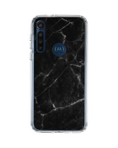 Black Marble Moto G8 Power Clear Case