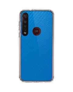 Blue Carbon Fiber Moto G8 Plus Clear Case