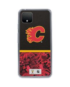 Calgary Flames Retro Tropical Print Google Pixel 4 XL Clear Case
