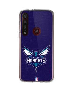 Charlotte Hornets Distressed-Purple Moto G8 Plus Clear Case