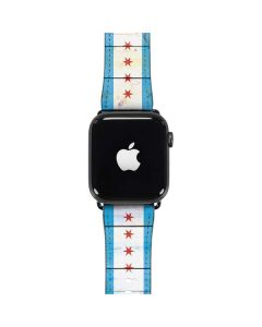 Chicago Flag Light Wood Apple Watch Case