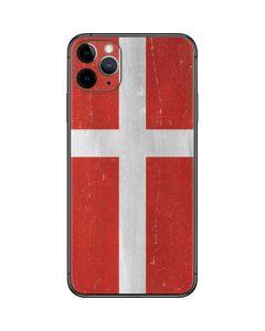 Denmark Flag Distressed iPhone 11 Pro Max Skin