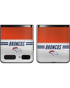 Denver Broncos White Striped Galaxy Z Flip Skin