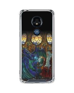 Dragon and Wizard Playing Chess Moto G7 Power Clear Case