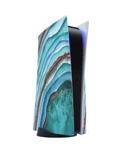 Turquoise Watercolor Geode PS5 Console Skin