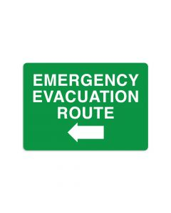 "Emergency Evacuation Route Left 7"" x 10"" Wall Graphic"