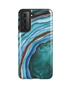 Turquoise Watercolor Geode Galaxy S21 5G Case