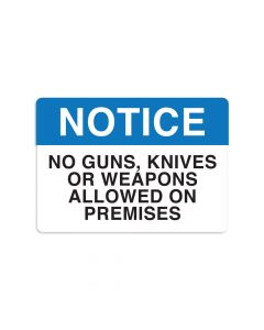 "No Guns Knives or Weapons 7"" x 10"" Wall Graphic"