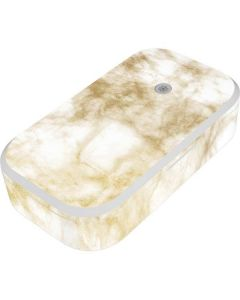Gold and White Marble UV Phone Sanitizer and Wireless Charger Skin