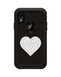 Grey Leopard Heart Otterbox Defender iPhone Skin
