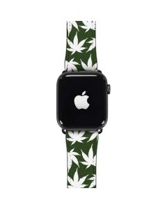 Marijuana Leaf White Pattern Apple Watch Case